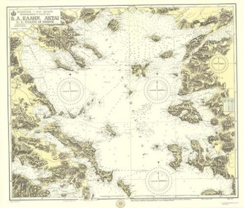 Παλιός Ναυτικός Χάρτης Υδρογραφική Υπηρεσία του Πολεμικού Ναυτικού